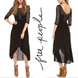 Free People Black Crochet Embroidered Dress Size 6